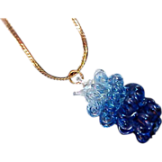 Free Ship ~ Variegated Blue Crystal Pendant and Chain