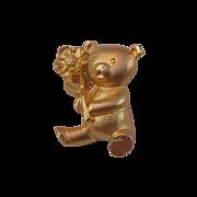 GERRYS Gold Plate TEDDY Bear Gold Plate Figural Brooch