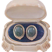 WHITING & DAVIS Jade Glass Cabochons & Antiqued Gold Plate Dog Tooth Prong Clip Earrings