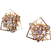 HOBE ! Gorgeous Gold Plate & Diamante Rhinestone Clip Earrings