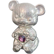 Silver Pewter PAPER WEIGHT Teddy Bear~AMETHYST Rhinestone Heart