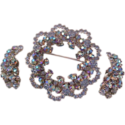 Runway  ~ BLING~ Blue Aurora Borealis Demi Parure~Brooch~Clip Earrings