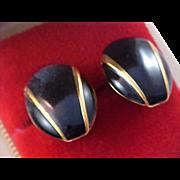 NAPIER - Black Enamel & Gold Plate  Clip - Tension Screw Earrings