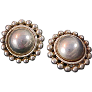 Trademarked PREMIER USA~Silver Plate Button Clip Earrings