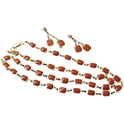 OVER-the-TOP CARNELIAN Art Glass Demi~Sautoir Necklace and post Earrings