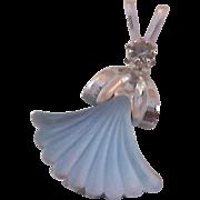 Blue Glass & Chocolate Simulated Diamond Silver Plate Fabulous Pendant