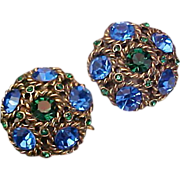 1930's FABULOUS Very Old Montana Blue & Emerald Green Rhinestone Clip Earrings