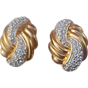 Free Ship ~ Spectacular ~ S.A.L© ~ . Deep Yellow Gold Plate & Pave` Diamante Intricate Clip Earrings~ SAL