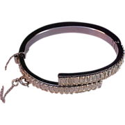 Showstopper OLD HOLLYWOOD Diamante Baguette & Hinged Chaton Clamper Bangle