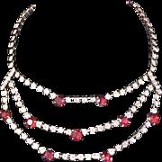 Free Ship~Ruby Red Rhinestone~Diamante Chatons Three Strand FESTOON Necklace/Choker