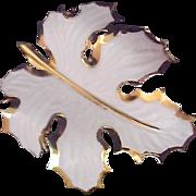 Giovanni Fall-Winter OAK LEAF  White Enamel & Gold Plate