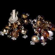 Alluring~Topaz~Gold Aurum~Amber~White Glass Dangle Clip Earrings