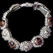 SLIDE BRACELET ~ Glass TOPAZ Stones & Antiqued Silver Plate ~ 10 Link Bracelet