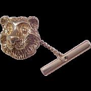 Antique Gold Plate LION Tie Tac~ Circa 1950