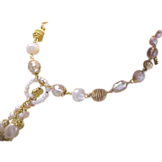 Lavish Simulated Baroque Pearls & Crystals Signed Necklace