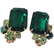 High End Rectangle Green & Peridot Rhinestone Clip Earrings