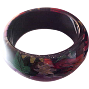 Laminate over Glass Wide Bangle Cuff Bracelet