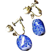 HASKELL Trademark ~ Blue & White Glass & Milk Glass Cabochon Clip/Comfort Screw Earrings