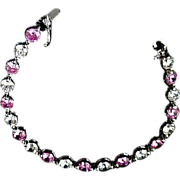 STERLING Genuine Pink Sapphire & Clear Cubic Zirconia~Signed TM - FAL BRACELET