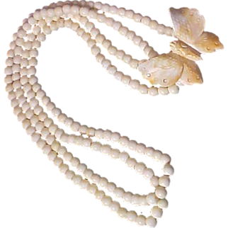 113.9 gr~Natural Hand Carved BONE~ BUTTERFLY Two Strand 10 mm Bone Bead Necklace