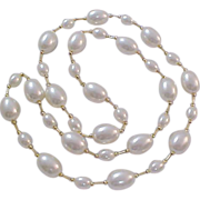 Simulated GLASS PEARLS~ Oval and Gold Glass Bead Spacers Necklace