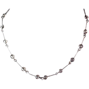 Bezel Set Crystals ~ Silver Tone Necklace