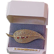 BOUCHER ~ Diamante & Ruby Red Rhinestones Ornate Gold Plate Brooch