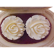 White Carved CELLULOID  ~ 1930's Clip Earrings