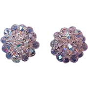 Exquisite Brilliant Hand Wired Genuine SWARVOSKI  Aurora Borealis Crystal Clip Earrings