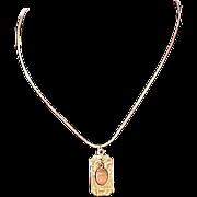 14K Gold Plate Dangle Engravable Pendant & Herringbone  Chain ~ 2-Sided