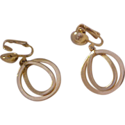POPULAR Double Dangle  HOOPS ~ Ovals & Round Rings ~ Gold Plate Clip Earrings