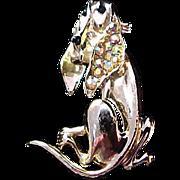 Hilarious HOUND DOG~Aurora Borealis~Enamel Gold Plate Figural Brooch