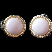 Retro White Milk ART GLASS Gold Plate Clip Earrings