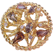 BLING~ Marquis ~ Pear ~Round Cut Crystals in Dimensional Gold Plate Setting Brooch