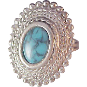 Lavish Simulated  Marcasite~ SPIDER TURQUOISE Ring ~ size  6