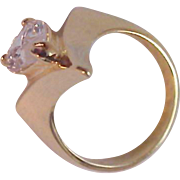 SIGNED DAC Elegant Pear Cut Solitaire Prong Set Costume or Birthstone Gold Plate Ring ~Size 7