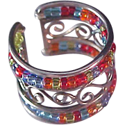 Ultra Fabulous~Crystal Multicolor  Bead Wide Band Ring 7 ~Adjustable