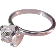 Solitaire Tiffany Setting ~ Cubic Zirconia~Signed UNCAS~  Silver Plate Engagement Ring ~ Size 8 1/4