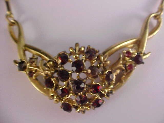 Bib Festoon - RUBY RHINESTONE Gold Plate Necklace/Choker