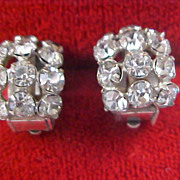Mid Century Art Deco Diamante Huggie Clip Earrings