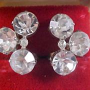 ART DECO - HEADLIGHT Diamante Silver clip Earrings