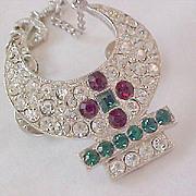 El Karuba~SHRINER'S Pave Diamante  - Ruby & Emerald Rhinestones Dangle Silver Plate Pin