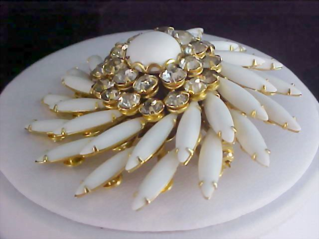 JUDY LEE Milk White Glass Navettes & Diamante Brooch