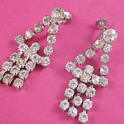 ART DECO ~ Articulated Dangle Diamante Rhinestone 1030's Screw Back Earrings