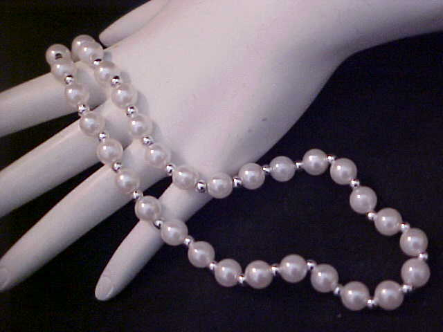 Vintage 40's Simulated 5.5 mm Pearl~Silver Plate Spacers Necklace