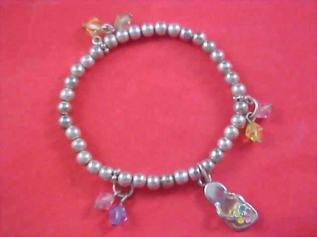 """Little Girl """"FLIP FLOP""""  & Crystals Silver Plate Charm Bracelet"""