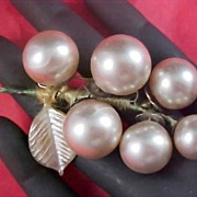 1930's  Old Silver Colored  Bead Ball Wrapped C Clasp Brooch
