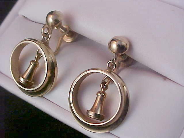 Gold plate Dangle Screw Back  Earrings