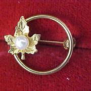 Simulate Pearl~Gilt Gold Oak Leaf Circular Brooch