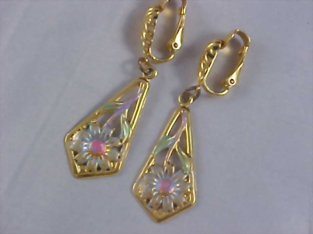Pearlized Enamel Repousse Gilt Gold Dangle Clip Earrings